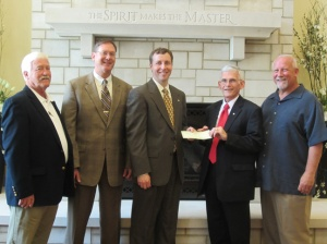 Members of the Greenwood Optimist Club recently presented a $7,747.92 check to the College Heights Foundation for the Greenwood Optimist Club Scholarship Fund. From left are Paul Duvall, Past President; Andy Lovell, President; Donald Smith, College Heights Foundation President; Larry Vaughn, Past President; and Norm Johnson, Vice President.