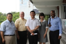 The WKU group's fifth meeting took place at Fu-Jen Catholic University. From left: Dr. Wei-Ping Pan, George Rasmussen, Zhang Rongfang, Ruby Chang and Terrill Martin.
