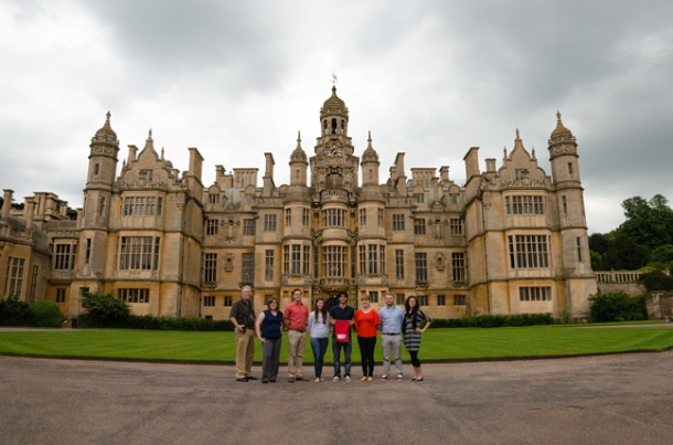 Members of the Imagewest International Team 2013 in front of Harlaxton Manor are (from left) Mark Simpson, Rachael Fusting, Alan Schneller, Martha Holmes, Davide Fellini, Nicole Coomer, Matt Love and Heather Garcia.