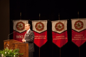 WKU President Gary Ransdell addressed faculty and staff at the opening convocation on Aug. 23 at Van Meter Hall. (WKU photo by Clinton Lewis)