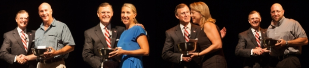 The 2013 faculty award recipients are (from left) Dr. Andrew Wulff, Lindsay Oesterritter, Dr. Nancy Rice and Dr. Fred Gibson. (WKU photos by Clinton Lewis)