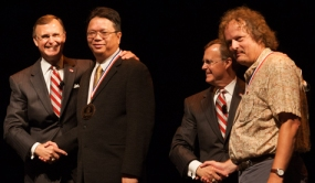 """The newest University Distinguished Professors are (from left) Dr. Kam C. """"Johnny"""" Chan and Dr. Claus Ernst. (WKU photos by Clinton Lewis)"""