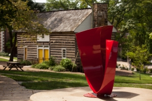 """To the Point"" has a new home near the Felts Log Cabin. (WKU photo by Clinton Lewis)"