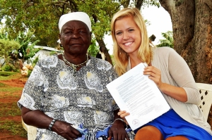 "During an August research trip to Kenya, WKU student Amy Correll (right) met with Sarah Obama, Kenya's ""Goodwill Ambassador"" and President Obama's grandmother."