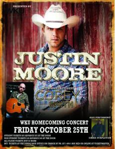 The 2013 Homecoming Concert will be held on Oct. 25 and will feature country artist Justin Moore. Tickets go on sale Sept. 13.