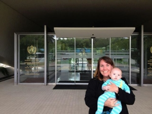 Dr. Kelly Fitzgerald, pictured here on a recent visit to the World Health Organization with her son Patrick, served as a member of the International Advisory Committee for the 2nd International Conference on Age-Friendly Cities.