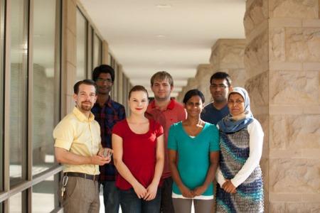 Members of Dr. Hemali Rathnayake's research group include (front row, from left) Stephen Guffey, Paige Huzyak, Dr. Rathnayake, Begum Fouzia and (back row) Venkata Ramana, Jonathon Randolph and Dharmesh Patel.