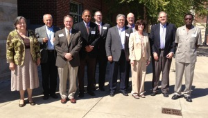 Science and engineering deans from Kentucky universities met Sept. 23 at WKU. From left are: In attendance were (from left) Dr. Cathleen Webb, WKU; Dr. Sam Zachary, Northern Kentucky University; Dr. John Walz, University of Kentucky; Dr. Neville Pinto, University of Louisville; Dr. John Ferrar, Northern Kentucky University; Dr. Steve Cobb, Murray State University; Dr. John Wade, Eastern Kentucky University; Dr. Cheryl Stevens, WKU; Dr. Roger McNeil, Morehead State University; and Dr. Tom Otieno, Eastern Kentucky University.