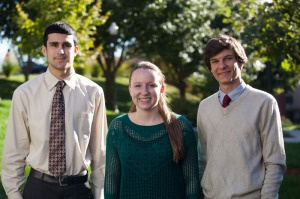 Three students had their WKU-mentored research recognized in the 2013 Siemens Competition. From left: South Warren High School student Jack Broaddus and Gatton Academy students Julia Gensheimer and Isaac Kresse. (WKU photo by Clinton Lewis)