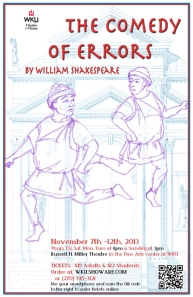 """The Comedy of Errors"" will be presented Nov. 7-12 at WKU's Russell Miller Theatre. (Poster design by E. Shura Pollatsek)"