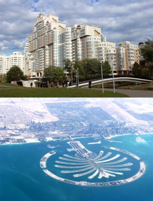 Stops on Dr. David Keeling's recent Eastern Europe expedition included (top) new urban development in Minsk, Belarus, and (bottom) the Palm Island resort development in Dubai, UAE.