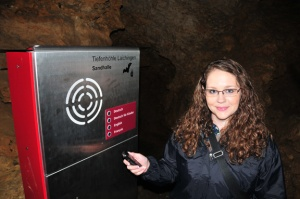 Dr. Leslie North records audio while exploring Tiefenhohle in Germany.