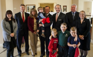 Representatives of WKU and PNC, including Dr. Gary Ransdell, Dr. Julia Roberts and Chuck Denny, got together for a group photo after the Jan. 15 grant announcement. (WKU photo by Bryan Lemon)