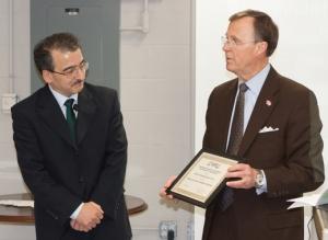 WKU President Gary Ransdell introduces Dr. Farhad Ashrafzadeh as the Greulich Chair of Energy Systems. (WKU photo by Bob Skipper)