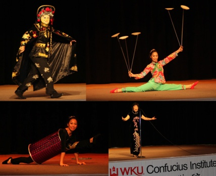 "The Chinese Opera Troupe's performance included (top row) the Sichuan Opera face changing act and Chinese acrobatic plate spinning and (bottom row) an acrobatic act titled ""Barrel Contortion"" and songs by Zhang Hong."
