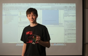 Ethan Gill, a senior in the Gatton Academy of Mathematics and Science in Kentucky at WKU, has developed the HueHueHue app. (WKU photo by Clinton Lewis)