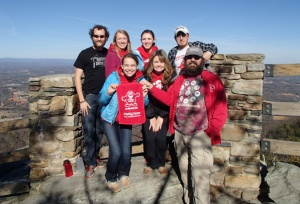 Members of WKU's Habitat for Humanity campus chapter, who are working on projects in Winston-Salem, took time out to visit Pilot Mountain State Park in North Carolina.