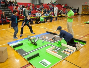 A total of 91 students on 32 teams competed in the 14th annual Kentucky Bluegrass LEGO Robotics Competition on Feb. 22 at Drakes Creek Middle School. (WKU photo by Clinton Lewis)