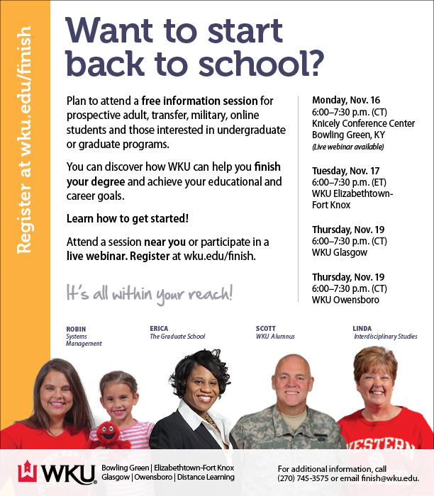 WKU Hosting Adult Learner Information Sessions Nov. 16-19
