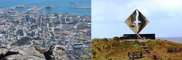 Dr. David Keeling represented WKU and the American Geographical Society on a 25,000-mile Cape to Cape expedition that included visits to Cape Town (above left, from the top of Table Mountain in South Africa) and Cape Horn (above right, monument at the end of South America).