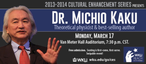 Dr. Michio Kaku will visit WKU on March 17.