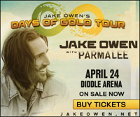 Tickets are on sale for Jake Owen's April 24 concert at WKU's Diddle Arena.