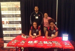WKU's Master of Science in Recreation and Sport Administration was featured at the career and vendor fair. Front row: Teranie Thomas and Brittany Prathe; back row: Jared Clendinin and Evie Oregon.