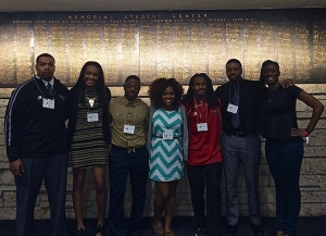 WKU students who attended the Southwestern Black Student Leadership Conference were (from left) Jared Clendinin, Teranie Thomas, Andre Farrell, Brittany Prather,  Jamal Forrest, Desmond Davidson and Shirrita Newton.