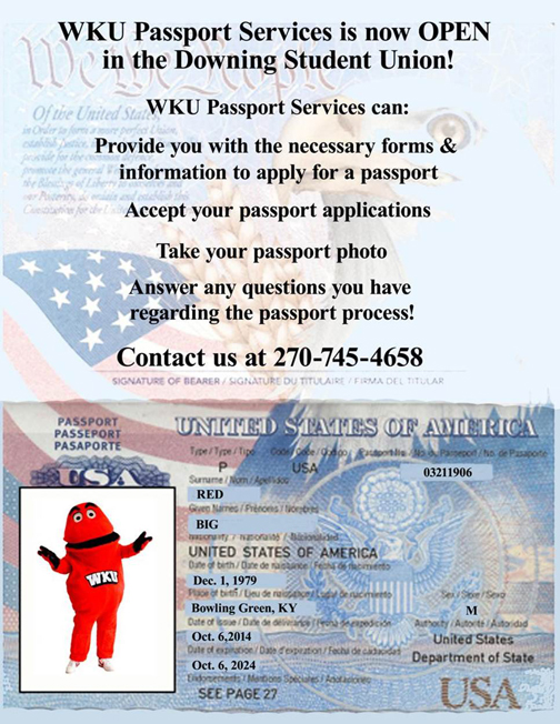 WKU Passport Services office is located in the Downing Student Union.