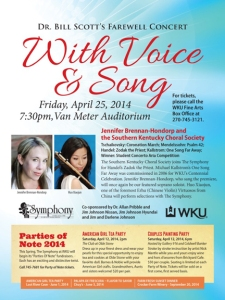 "The Symphony at WKU will present ""With Voice & Song,"" Dr. Bill Scott's Farewell Concert, at xx p.m. April 25 at Van Meter Hall. Contact Music, (270) 745-3751."