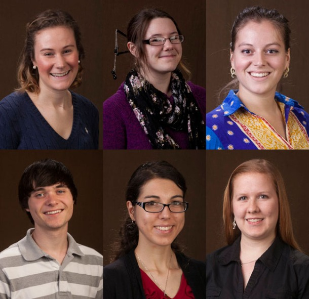 A record six WKU students have received U.S. Department of State Critical Language Scholarships. Top row (from left):  bottom row (from left): (WKU photos by Bryan Lemon)