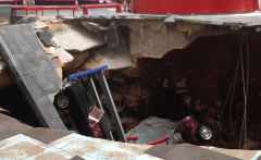 The sinkhole at the National Corvette Museum has provided teachable moments for WKU students. (WKU photo by Tommy Newton)