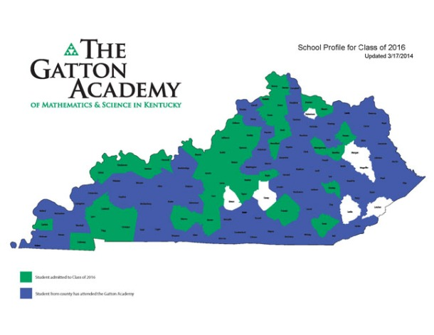 The Gatton Academy has selected 59 students from 40 counties for its Class of 2016. In the past eight years, students from 113 Kentucky counties have been admitted to the program housed at WKU.