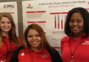 WKU students (from left) Allie Randall, Darla Hayden and Kiara Edwards presented research posters at the 2014 American College of Health Care Administrators Convocation in Las Vegas.