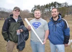 Concrete bat team members (from left): Justin Hopkins, Ben Mullins and Dylan Jones.