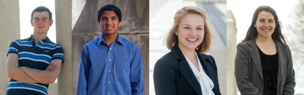 Four WKU students have been recognized by the Barry M. Goldwater Scholarship and Excellence in Education Program. From left: John Andrew Cliburn of Cloverport, Nitin Krishna of Corbin, Megan Laffoon of Louisville and Gretchen Walch of Alexandria. (WKU photos by Bryan Lemon)