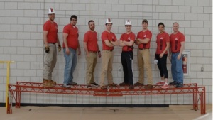 Steel bridge team (from left): Matt Groves, Nicholas Miller, Chris Sivley, John Jacoby, Jacob Martin, Carson Joyce, Noufissa Chbihi and Dr. Shane Palmquist (team advisor).