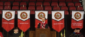 WKU President Gary Ransdell delivered Commencement remarks at the graduate ceremony and will deliver remarks at the undergraduate ceremonies. (WKU photo by Clinton Lewis)