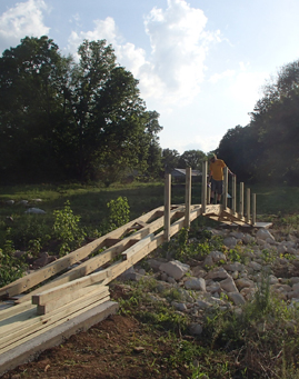 The WKU Habitat for Humanity campus chapter has built a bridge at the Durbin Estates project off Glen Lily Road in Bowling Green. (Photo courtesy of Bryan Reaka)