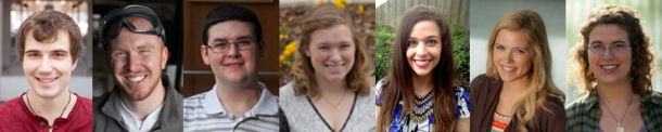 Seven WKU students have been honored by the Fulbright U.S. Student Program. From left: Chad Coomer, Jon Hendrie, Wesley Bromm, Allison Feikes, Angelika Masero, Amy Correll and Clarice Esch.