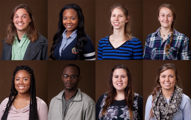 Eight WKU students have been recognized by the U.S. Department of State through the Benjamin A. Gilman International Scholarship program. Those receiving scholarships were (top row, from left) Tyler Allen of Flushing, Mich.; Kaleiah Brown of Gary, Ind.; Valerie Farsetti of Louisville; Alexandra Hezik of Campbellsville; (bottom row, from left) Asia Larkin of Whites Creek, Tenn.; and DaMario Walker-Brown of Lexington; alternates (bottom row) Margaret Riney of Owensboro and Keeley Stephens of Bowling Green.