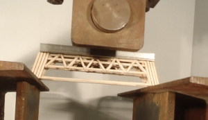A balsa wood bridge designed and built by WKU students Raymond Van Zee and Blake Adams