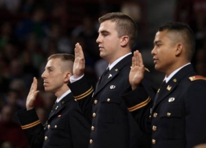 The Hilltopper Battalion Army ROTC program commissioned 14 cadets as second lieutenants. (WKU photo by Clinton Lewis)
