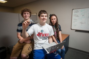 Gatton Academy students (from left) Logan Houchens, Peter Kaminski and Lydia Buzzard are working on a summer research project using Google Glass. (WKU photo by Clinton Lewis)