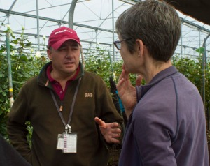 Faculty leader Melissa Stewart (Modern Languages) translated for the WKU group at a flower farm. (Photo by Neil Purcell)
