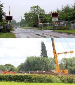 Dr. David Keeling returned to rural Lincolnshire to resurvey an infrastructure upgrade project along Britain's Network Rail. Top photo: New automatic barrier-controlled crossings. Bottom photo: Bridge realignment work underway along the route.