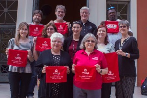 ZSEIFS participants at WKU partner university, Universidad San Francisco de Quito.  Beverley Holland, Nursing; Ginny Pfohl, Psychology; Addie Cheney, International Programs; Jill Brown, Liberal Arts & Sciences; Donielle Lovell, Sociology; Kelly Conroy, Modern Languages; Melissa Stewart (Leader), Modern Languages; Aaron Hughey, Student Affairs; Albert Meier, Biology; Bill Pfohl, Psychology; Gil Holts, Aramark.