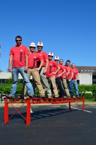 Caption: WKU Steel Bridge team members (from left) Sean Danehy, Carson Joyce, Matt Groves, John Jacoby, Jacob Martin, Chris Sivley, Dalton Hankins and Dr. Shane Palmquist (advisor). The students who constructed the bridge during the 2014 national competition are wearing WKU hardhats.