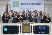 WKU student Patrick Portman and other recipients of a scholarship from TD Ameritrade Institutional rang the closing bell July 21 at the New York Stock Exchange.
