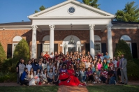International students gathered for a photo at the President's Home on Aug. 12.